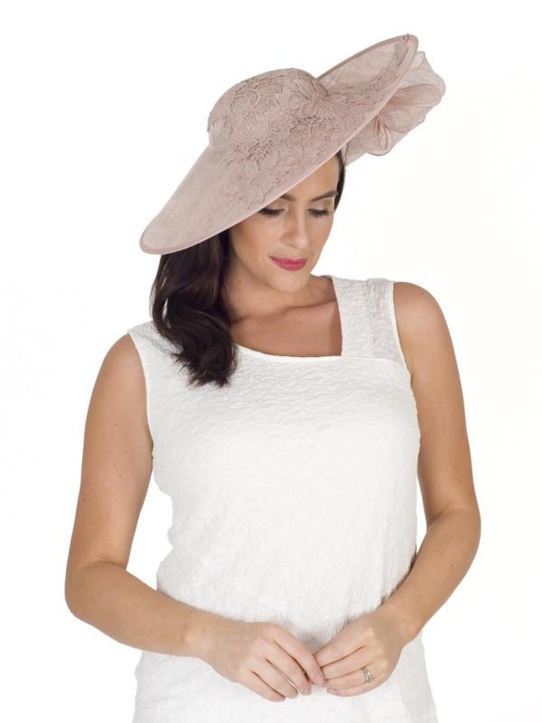Rose Grand Lace Hatinator - predominant colour: blush; occasions: occasion; type of pattern: standard; style: fascinator; size: large; material: faux leather; pattern: plain; season: s/s 2016; wardrobe: event