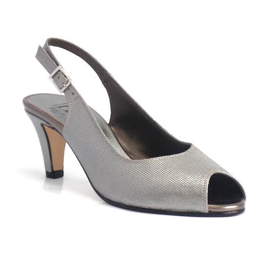 Metallic Grey Peep Toe Sling Back C+ Fit Shoe - predominant colour: silver; material: leather; heel height: mid; heel: kitten; toe: open toe/peeptoe; style: slingbacks; finish: plain; pattern: plain; occasions: creative work; season: s/s 2016; wardrobe: highlight