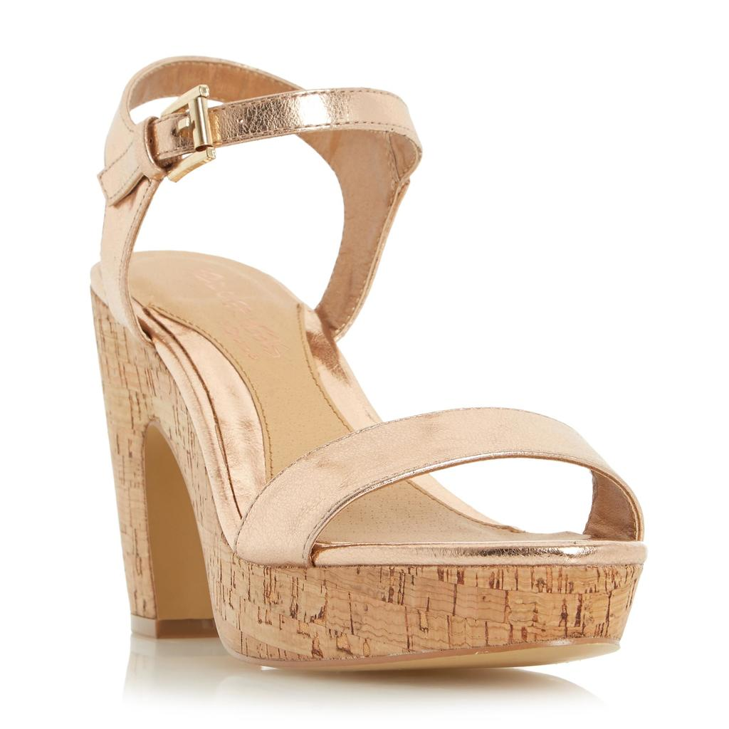 Indya Two Part Cork Effect Platform Sandal - predominant colour: gold; occasions: evening; material: leather; ankle detail: ankle strap; heel: wedge; toe: open toe/peeptoe; style: strappy; finish: metallic; pattern: plain; heel height: very high; shoe detail: platform; season: s/s 2016