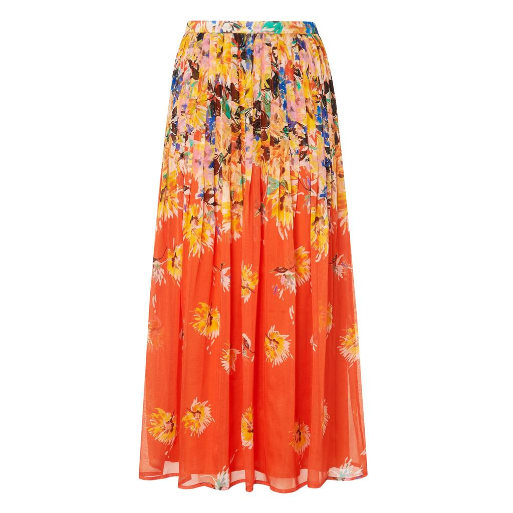 Thea Orange Floral Midi Skirt Red Vermillion - length: ankle length; fit: body skimming; style: pleated; waist: mid/regular rise; secondary colour: primrose yellow; predominant colour: bright orange; occasions: casual; fibres: silk - 100%; texture group: sheer fabrics/chiffon/organza etc.; pattern type: fabric; pattern: florals; multicoloured: multicoloured; season: s/s 2016; wardrobe: highlight