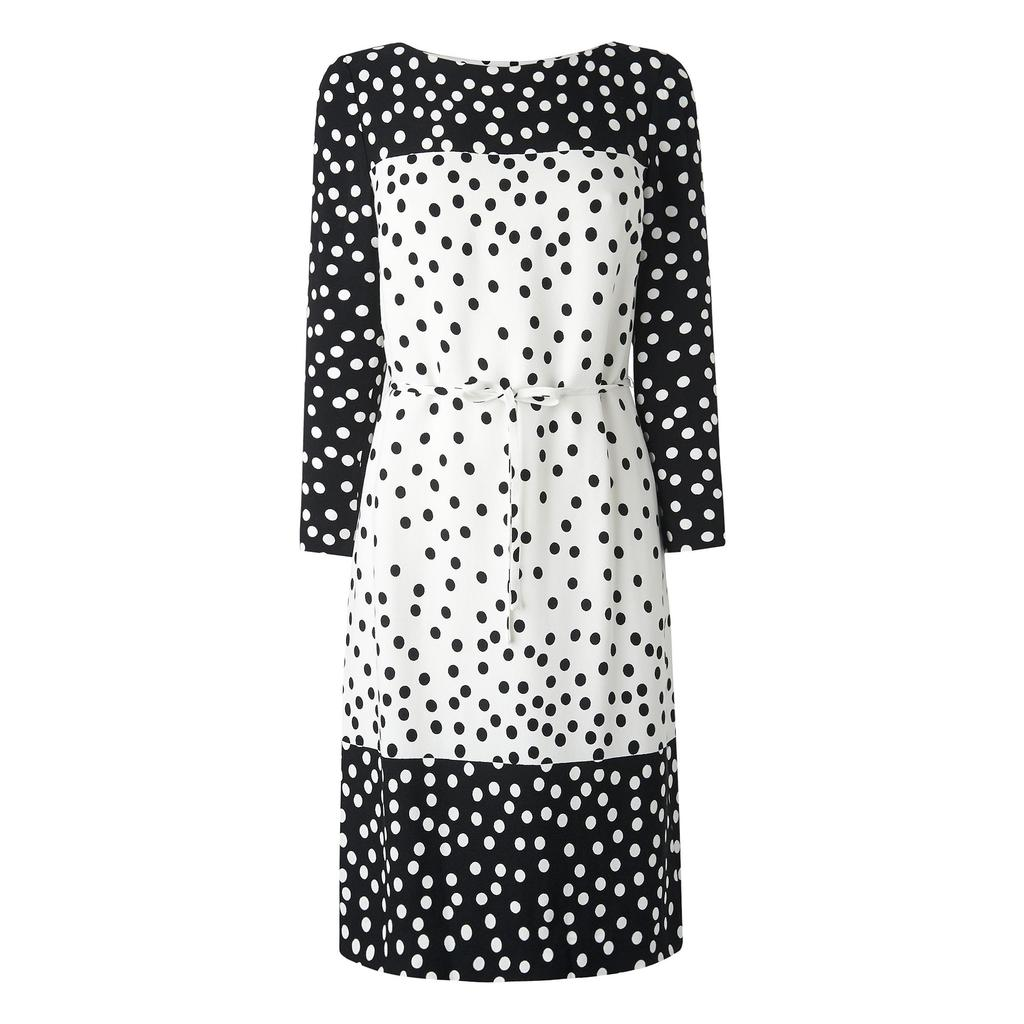 Gina Polka Dot Belted Shift Dress Multi Black Cream - style: shift; length: below the knee; neckline: slash/boat neckline; fit: tailored/fitted; pattern: polka dot; shoulder detail: contrast pattern/fabric at shoulder; waist detail: belted waist/tie at waist/drawstring; predominant colour: white; secondary colour: black; fibres: polyester/polyamide - 100%; occasions: occasion, creative work; sleeve length: long sleeve; sleeve style: standard; trends: monochrome; pattern type: fabric; pattern size: standard; texture group: woven light midweight; season: s/s 2016; wardrobe: highlight