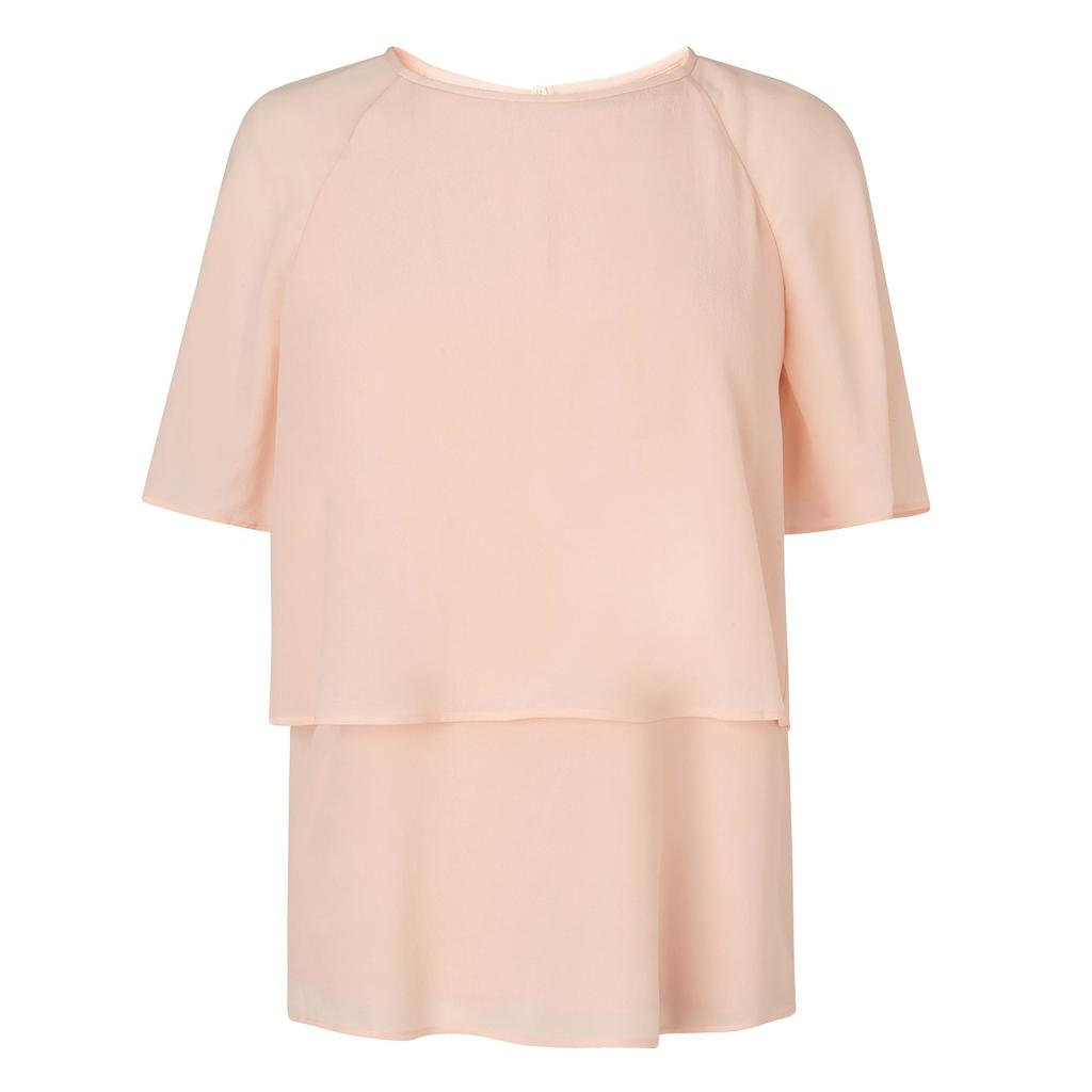 Maddie Pastel Peach Top Orange Pastel Peach - pattern: plain; predominant colour: blush; occasions: casual; length: standard; style: top; fibres: silk - 100%; fit: body skimming; neckline: crew; sleeve length: short sleeve; sleeve style: standard; texture group: crepes; pattern type: fabric; season: s/s 2016