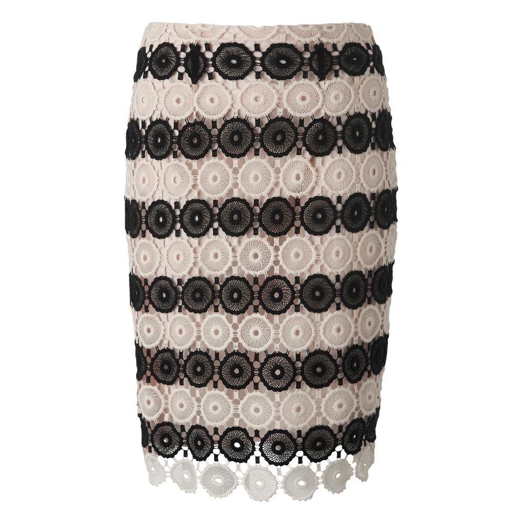 Claudine Crochet Fitted Skirt Multi Black Cream - style: pencil; fit: body skimming; waist: mid/regular rise; predominant colour: black; secondary colour: black; occasions: evening; length: just above the knee; fibres: cotton - 100%; texture group: knits/crochet; pattern type: fabric; pattern: horizontal stripes (bottom); season: s/s 2016; wardrobe: event