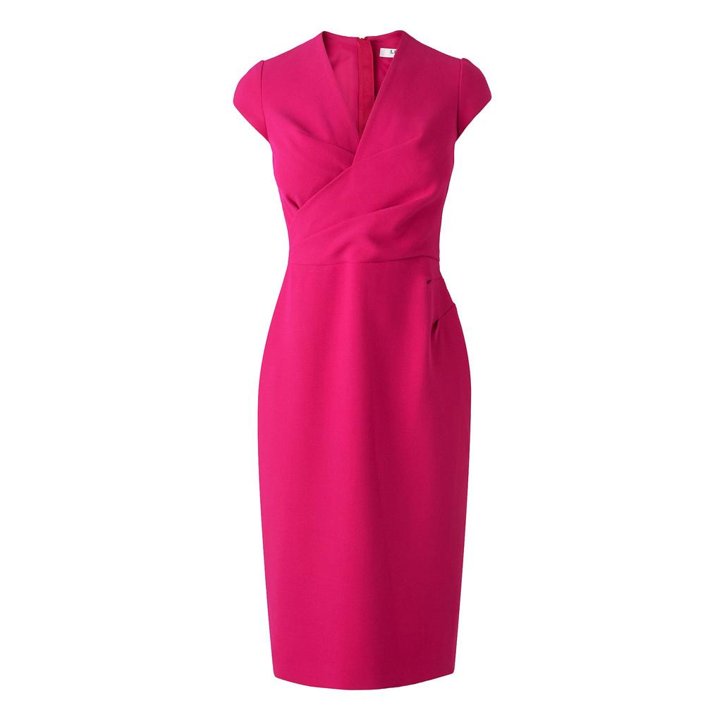 Una Red Tailored Wrap Dress Pink Crimson - style: faux wrap/wrap; length: below the knee; neckline: v-neck; sleeve style: capped; fit: tailored/fitted; pattern: plain; fibres: polyester/polyamide - mix; occasions: occasion; sleeve length: short sleeve; pattern type: fabric; texture group: other - light to midweight; predominant colour: raspberry; season: s/s 2016; wardrobe: event