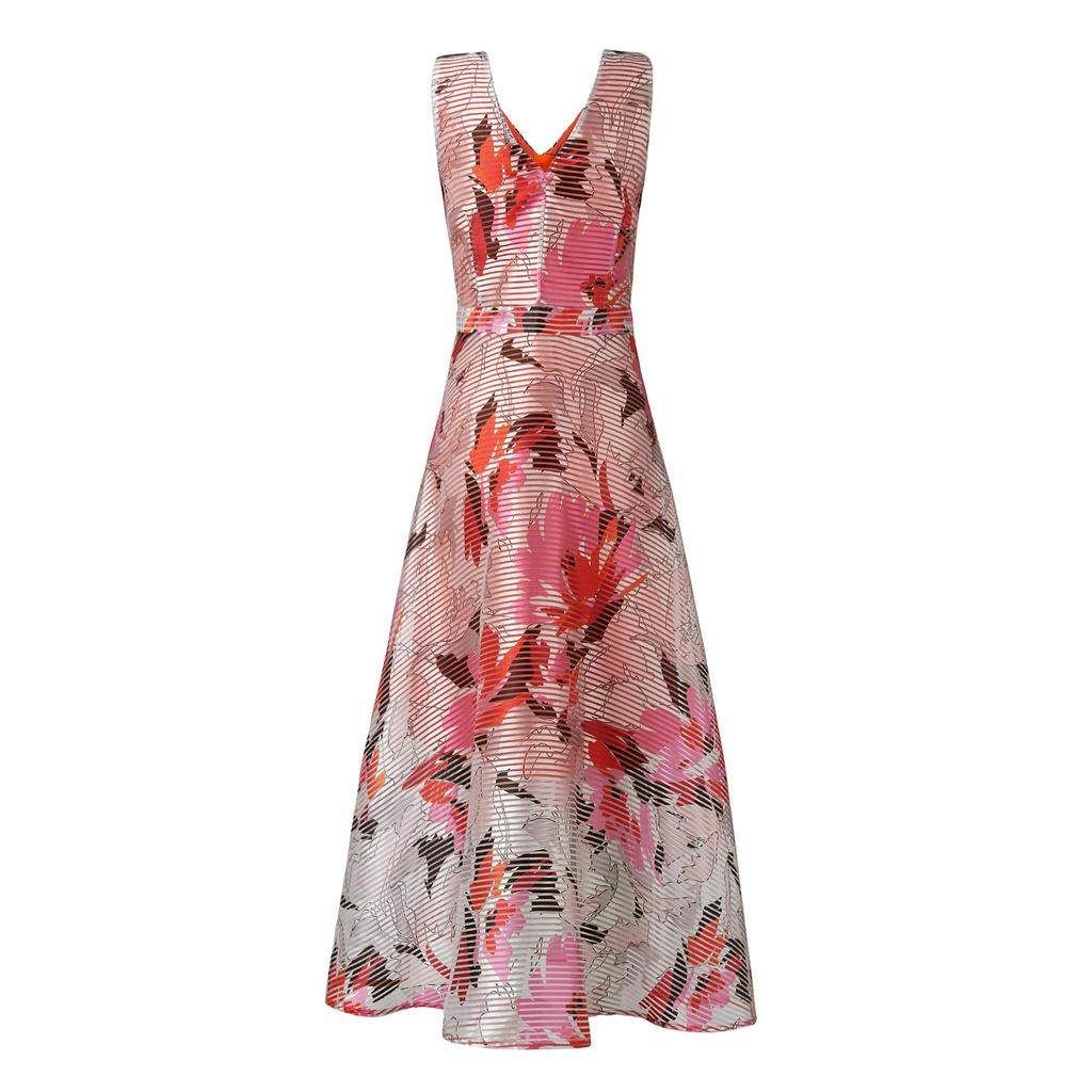 Prula Graphic Floral Dress Pink Pastel Peach - neckline: v-neck; sleeve style: sleeveless; length: ankle length; predominant colour: pink; occasions: evening, occasion; fit: fitted at waist & bust; style: fit & flare; fibres: polyester/polyamide - mix; sleeve length: sleeveless; texture group: structured shiny - satin/tafetta/silk etc.; pattern type: fabric; pattern size: big & busy; pattern: florals; multicoloured: multicoloured; season: s/s 2016; wardrobe: event