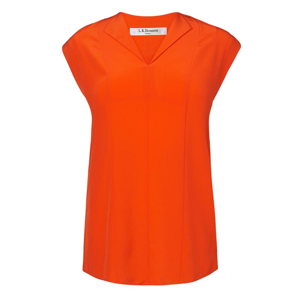 Taryn Orange Silk Woven Top - neckline: v-neck; pattern: plain; predominant colour: bright orange; occasions: casual; length: standard; style: top; fibres: silk - 100%; fit: body skimming; sleeve length: short sleeve; sleeve style: standard; texture group: silky - light; pattern type: fabric; season: s/s 2016; wardrobe: highlight