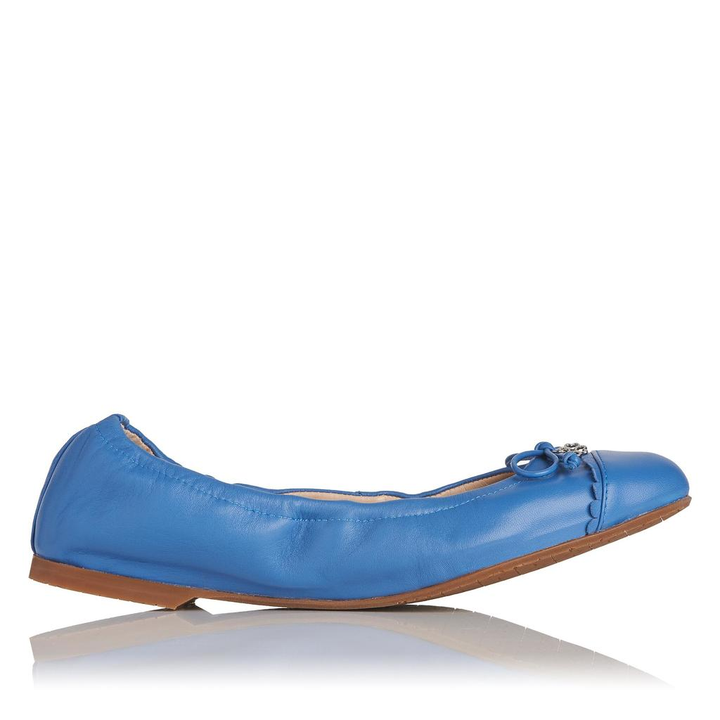 Aerin Blue Ballet Pumps - predominant colour: denim; occasions: casual, creative work; material: leather; heel height: flat; toe: round toe; style: ballerinas / pumps; finish: plain; pattern: plain; season: s/s 2016; wardrobe: highlight