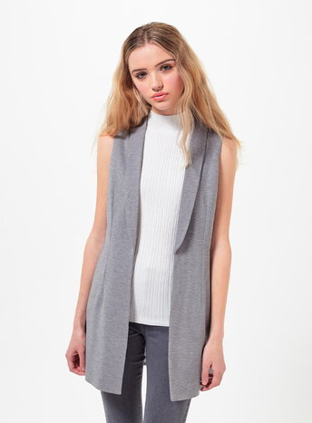 Womens Petite Sleeveless Jacket, Grey - pattern: plain; sleeve style: sleeveless; style: gilet; length: below the bottom; collar: standard lapel/rever collar; predominant colour: mid grey; fit: tailored/fitted; fibres: polyester/polyamide - mix; sleeve length: sleeveless; collar break: low/open; pattern type: fabric; texture group: other - light to midweight; occasions: creative work; season: s/s 2016; wardrobe: highlight