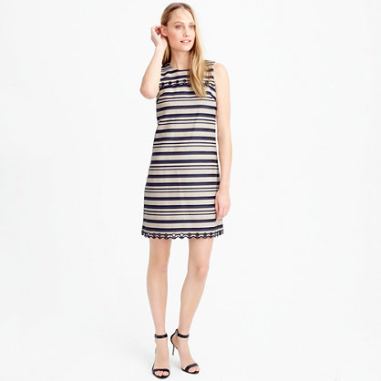 Striped Scalloped Dress With Grommets - style: shift; length: mid thigh; fit: tailored/fitted; pattern: horizontal stripes; sleeve style: sleeveless; secondary colour: ivory/cream; predominant colour: navy; occasions: evening; fibres: cotton - mix; neckline: crew; sleeve length: sleeveless; pattern type: fabric; texture group: other - light to midweight; multicoloured: multicoloured; season: s/s 2016; wardrobe: event
