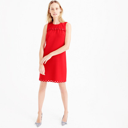 Tall Scalloped Dress With Grommets - style: shift; fit: tailored/fitted; pattern: plain; sleeve style: sleeveless; predominant colour: true red; occasions: evening; length: just above the knee; fibres: polyester/polyamide - stretch; neckline: crew; sleeve length: sleeveless; pattern type: fabric; texture group: other - light to midweight; season: s/s 2016; wardrobe: event
