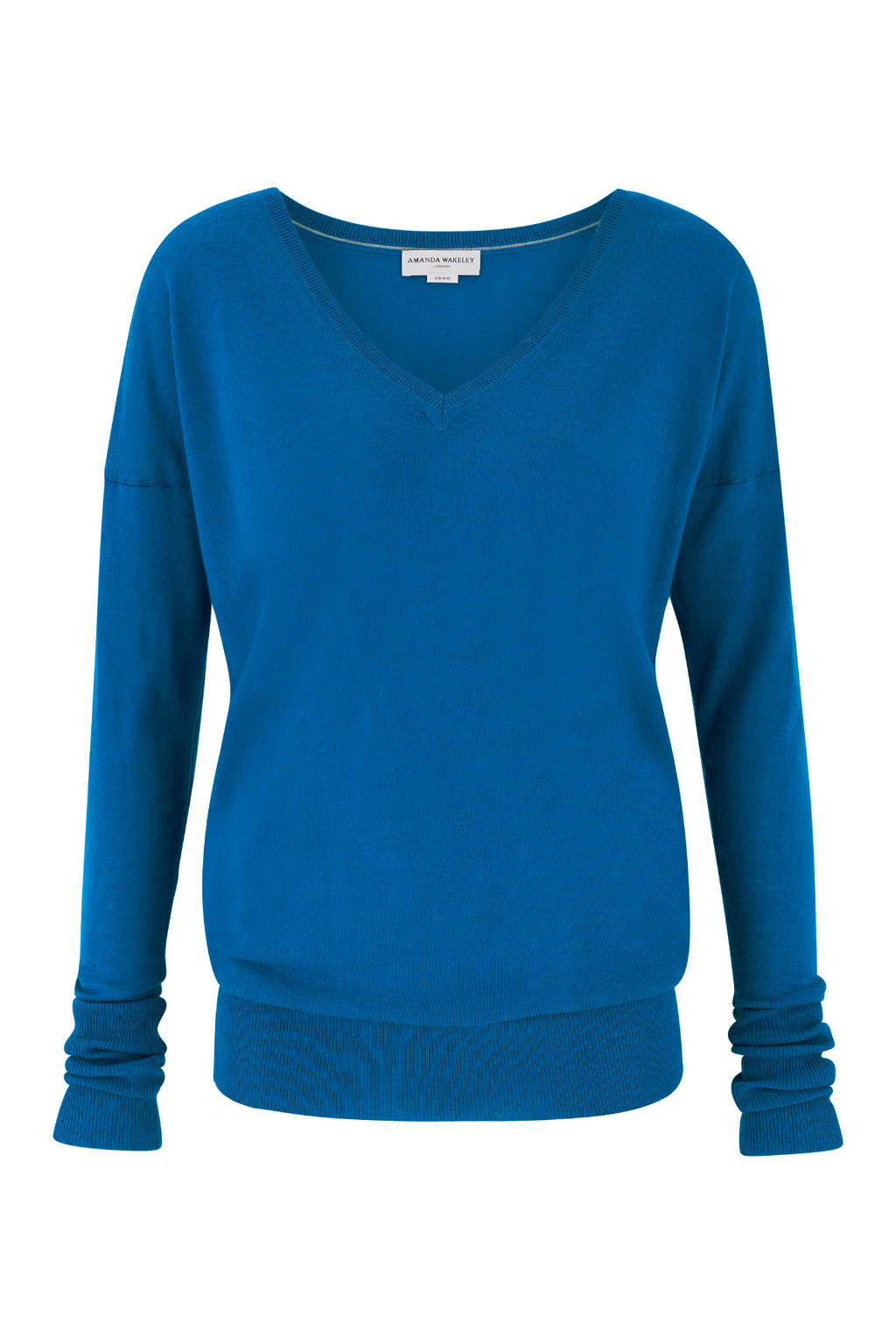 Hepburn Cobalt Cashmere V Neck - neckline: v-neck; pattern: plain; style: standard; predominant colour: royal blue; occasions: casual; length: standard; fit: slim fit; fibres: cashmere - 100%; sleeve length: long sleeve; sleeve style: standard; texture group: knits/crochet; pattern type: fabric; season: s/s 2016