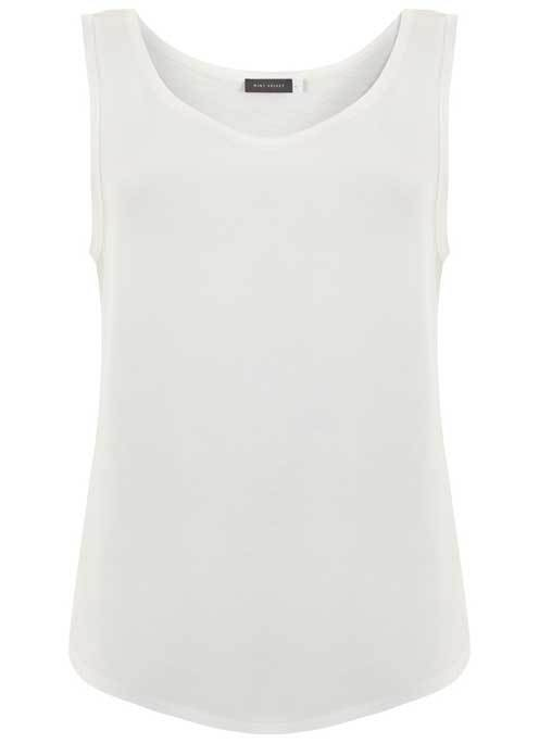 Ivory Raw Edge Trim Vest - neckline: round neck; pattern: plain; sleeve style: sleeveless; style: vest top; predominant colour: white; occasions: casual; length: standard; fibres: cotton - mix; fit: body skimming; sleeve length: sleeveless; pattern type: fabric; texture group: jersey - stretchy/drapey; season: s/s 2016; wardrobe: basic
