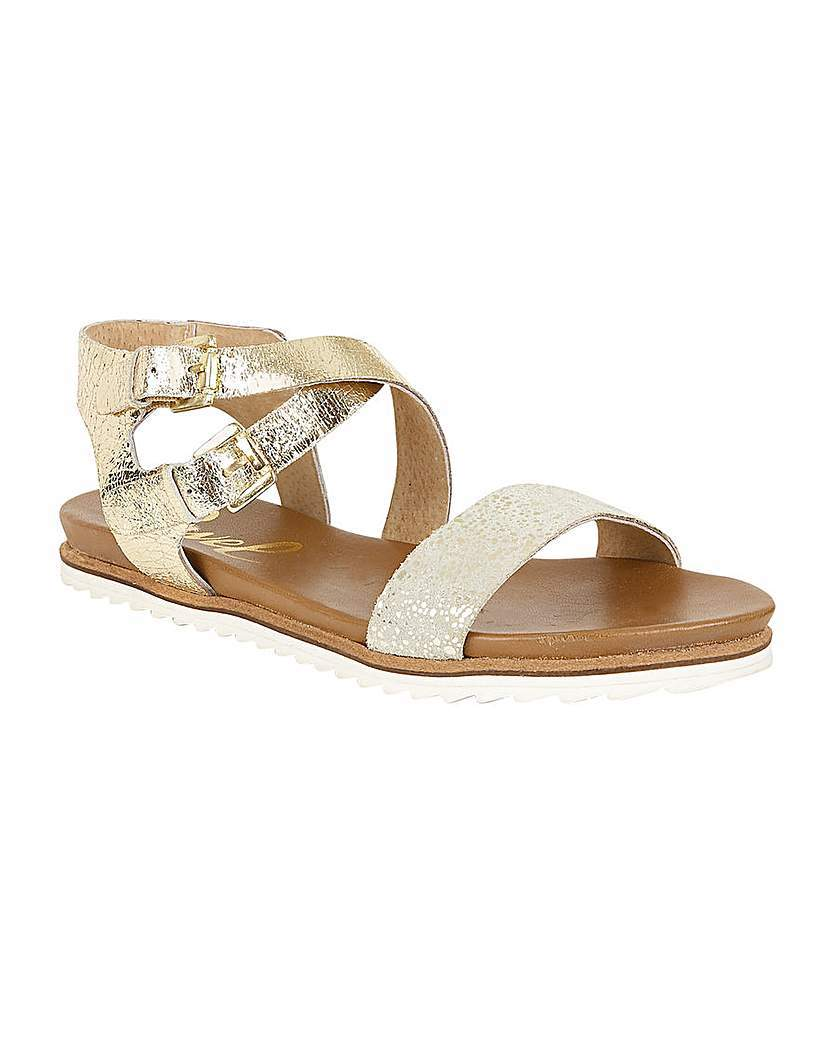 Torrington Ladies Sandals - predominant colour: gold; occasions: casual; material: faux leather; heel height: flat; ankle detail: ankle strap; heel: standard; toe: open toe/peeptoe; style: strappy; finish: metallic; pattern: plain; season: s/s 2016; wardrobe: basic