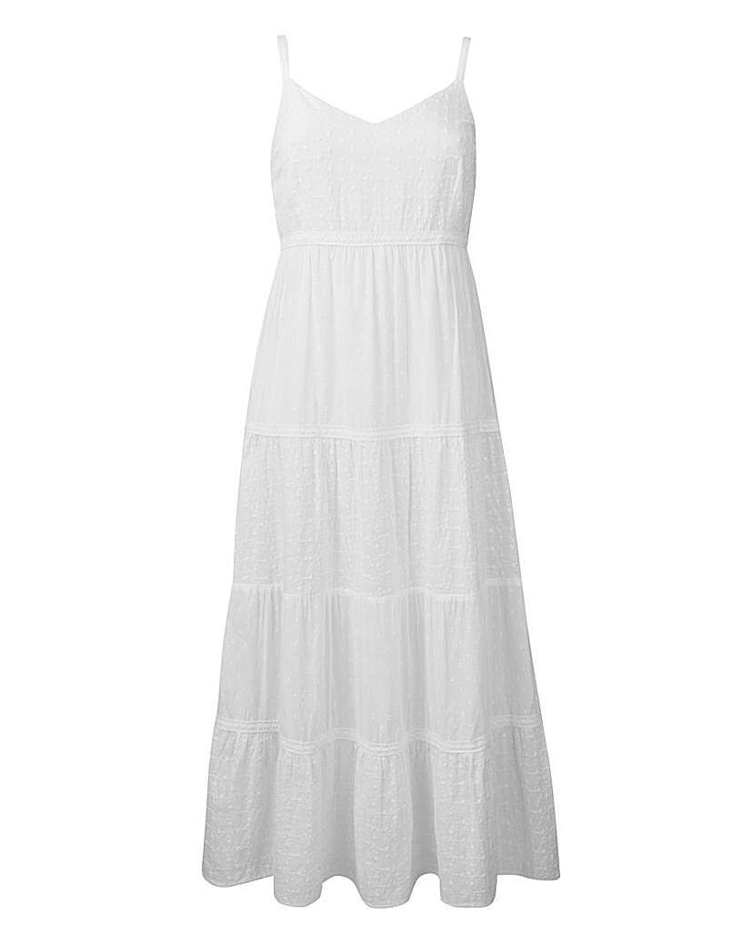 Cotton Broderie Summer Maxi Dress - neckline: v-neck; pattern: plain; sleeve style: sleeveless; style: maxi dress; length: ankle length; predominant colour: white; occasions: casual; fit: body skimming; fibres: cotton - 100%; sleeve length: sleeveless; pattern type: fabric; texture group: broiderie anglais; season: s/s 2016; wardrobe: highlight
