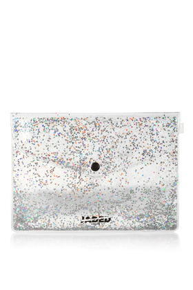 Glitter Gel Clutch Bag By Jaded London - predominant colour: silver; occasions: evening; type of pattern: standard; style: clutch; length: hand carry; size: standard; material: plastic/rubber; embellishment: glitter; pattern: plain; finish: metallic; season: s/s 2016; wardrobe: event; trends: metallics