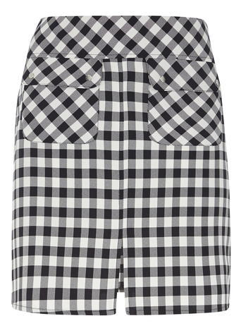 Womens Gingham Woven A Line Mini Skirt Blue - length: mid thigh; pattern: checked/gingham; fit: loose/voluminous; waist: high rise; secondary colour: white; predominant colour: navy; occasions: casual; style: a-line; fibres: polyester/polyamide - 100%; pattern type: fabric; texture group: woven light midweight; pattern size: standard (bottom); season: s/s 2016; wardrobe: highlight