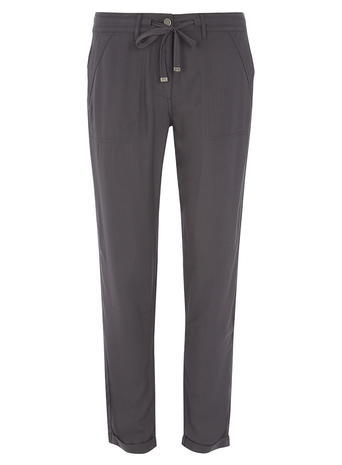 Womens Charcoal Twill Trousers Grey - length: standard; pattern: plain; waist detail: belted waist/tie at waist/drawstring; waist: mid/regular rise; predominant colour: charcoal; occasions: casual, creative work; fibres: viscose/rayon - 100%; fit: straight leg; pattern type: fabric; texture group: jersey - stretchy/drapey; style: standard; season: s/s 2016