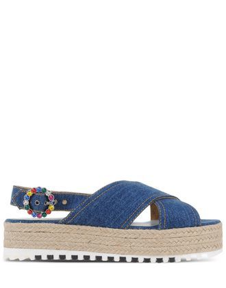 Espadrilles Espadrilles On Shoescribe.Com - predominant colour: denim; occasions: casual, holiday; material: fabric; heel height: flat; ankle detail: ankle strap; heel: wedge; toe: open toe/peeptoe; style: standard; finish: plain; pattern: plain; shoe detail: moulded soul; season: s/s 2016; wardrobe: highlight