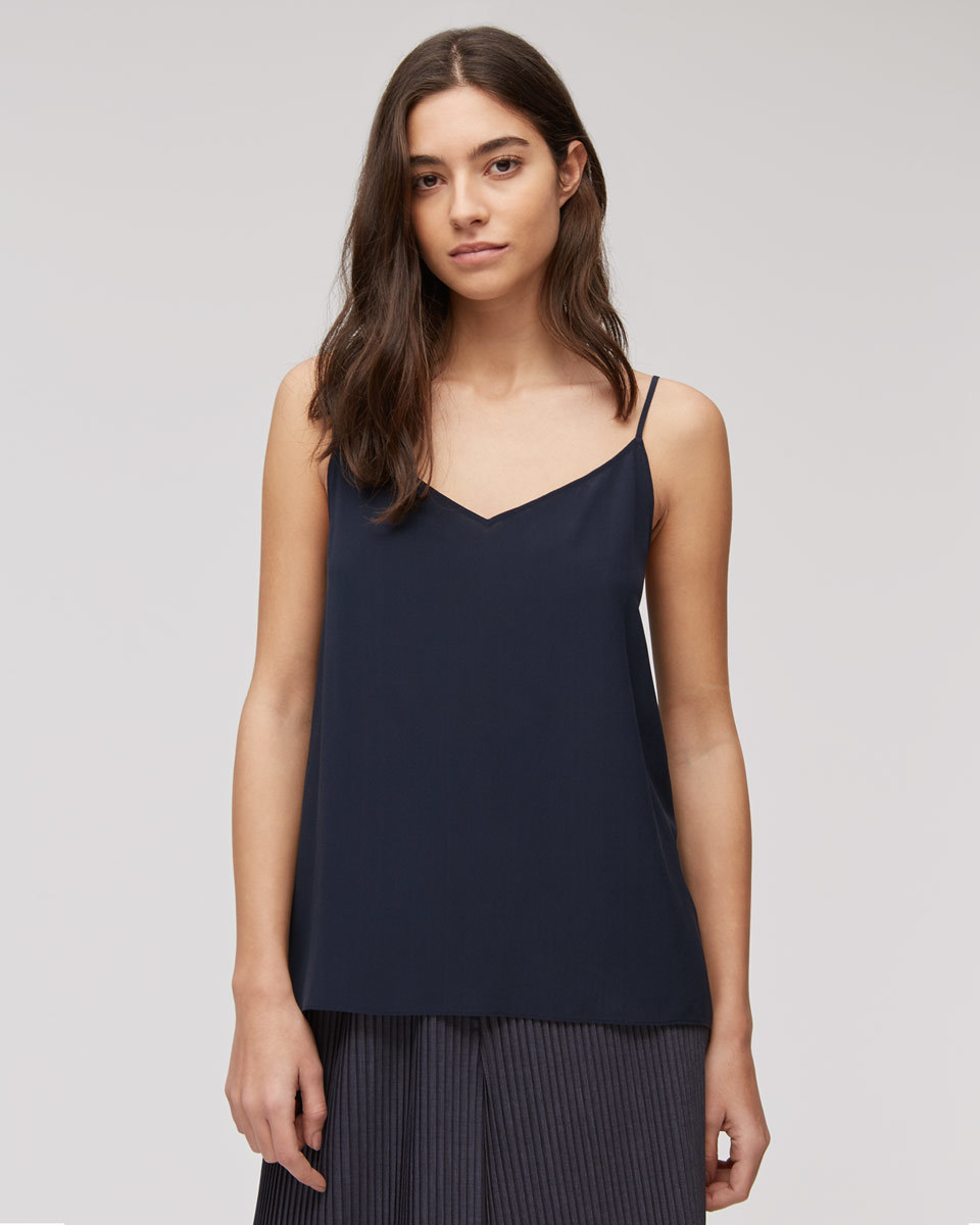 Silk Camisole - neckline: v-neck; sleeve style: spaghetti straps; pattern: plain; style: camisole; predominant colour: navy; occasions: evening; length: standard; fibres: silk - 100%; fit: body skimming; sleeve length: sleeveless; texture group: silky - light; pattern type: fabric; season: s/s 2016; wardrobe: event