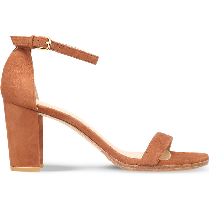 Nearlynude Suede Heeled Sandals, Women's, Eur 39 / 6 Uk Women, Grey - predominant colour: terracotta; material: suede; heel height: high; ankle detail: ankle strap; heel: block; toe: open toe/peeptoe; style: strappy; finish: plain; pattern: plain; occasions: creative work; season: s/s 2016; wardrobe: highlight