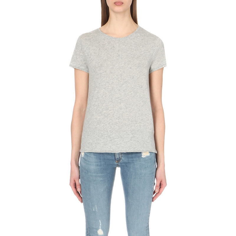 Cotton Jersey T Shirt, Women's, Size: Small, Heather Grey - pattern: plain; style: t-shirt; predominant colour: light grey; occasions: casual, creative work; length: standard; fibres: cotton - 100%; fit: body skimming; neckline: crew; sleeve length: short sleeve; sleeve style: standard; pattern type: fabric; texture group: jersey - stretchy/drapey; season: s/s 2016; wardrobe: basic