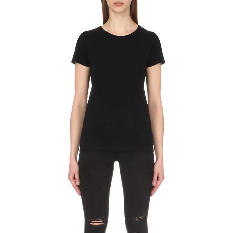 Cotton Jersey T Shirt, Women's, Size: Medium, Black - pattern: plain; style: t-shirt; predominant colour: black; occasions: casual, creative work; length: standard; fibres: cotton - 100%; fit: body skimming; neckline: crew; sleeve length: short sleeve; sleeve style: standard; pattern type: fabric; pattern size: standard; texture group: jersey - stretchy/drapey; season: s/s 2016; wardrobe: basic