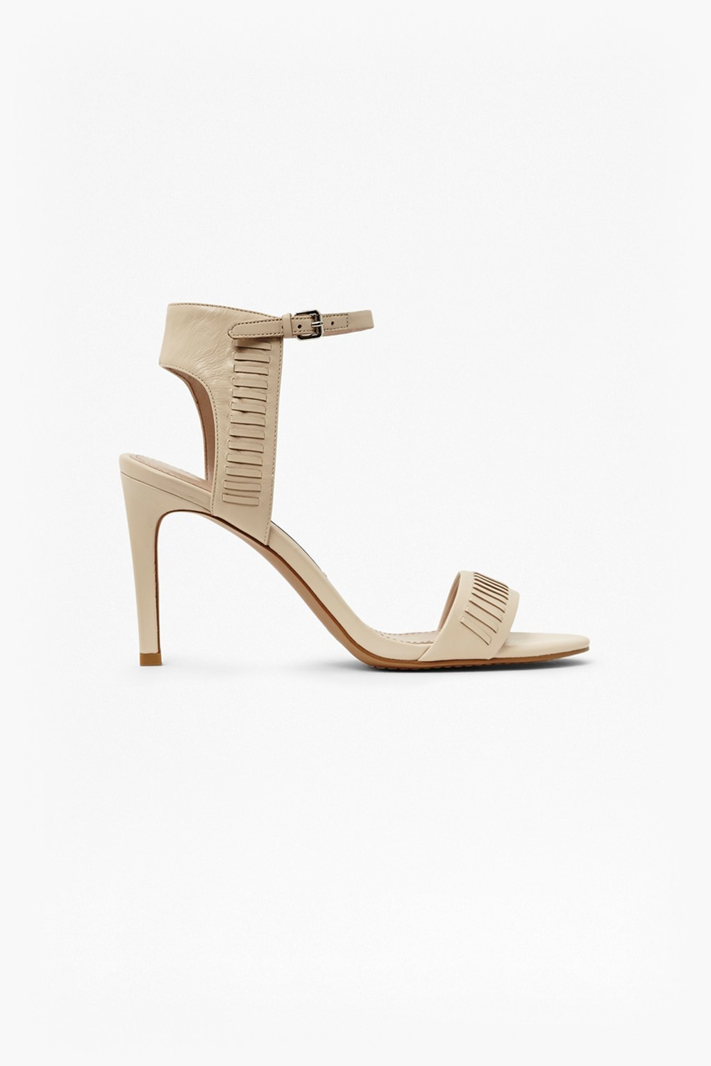 Linna Heeled Sandals Barley Sugar - predominant colour: nude; occasions: evening; material: leather; heel height: high; ankle detail: ankle strap; heel: stiletto; toe: open toe/peeptoe; style: strappy; finish: plain; pattern: plain; season: s/s 2016
