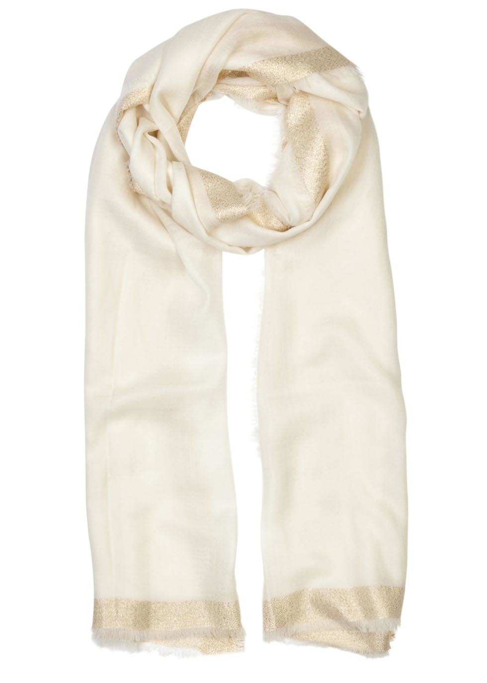 Cream And Gold Wool Blend Scarf - predominant colour: ivory/cream; occasions: casual, creative work; type of pattern: standard; style: regular; size: standard; material: fabric; pattern: plain; season: s/s 2016; wardrobe: basic