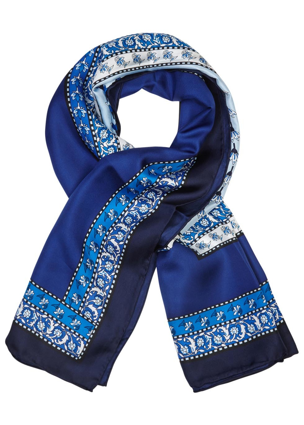Floral Print Silk Scarf - predominant colour: royal blue; secondary colour: navy; occasions: casual, creative work; type of pattern: heavy; style: regular; size: standard; material: fabric; pattern: patterned/print; season: s/s 2016; wardrobe: highlight