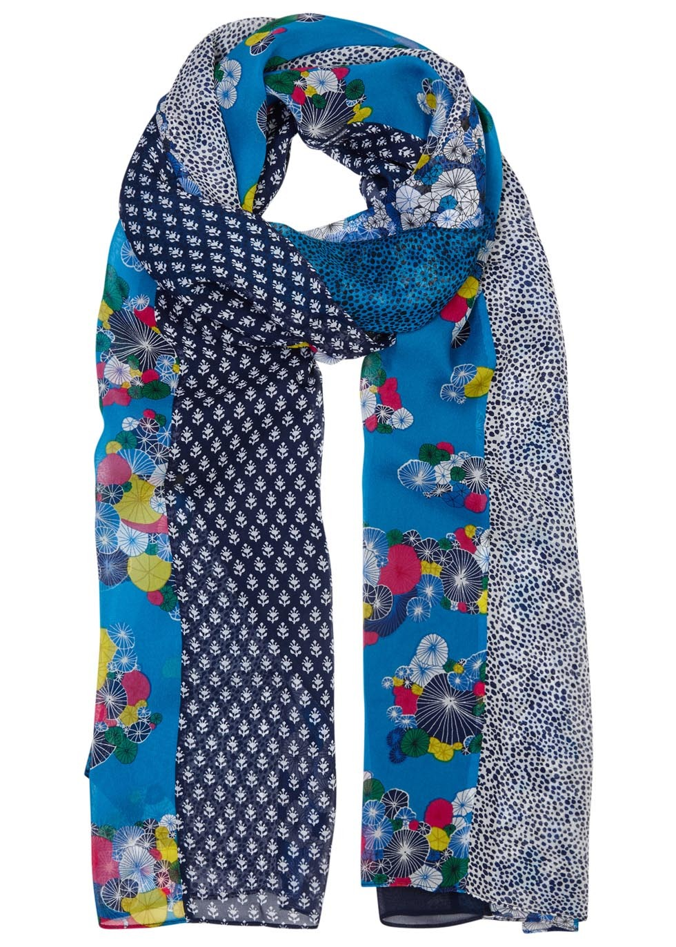 Printed Chiffon Scarf - predominant colour: diva blue; secondary colour: navy; occasions: casual, creative work; type of pattern: heavy; style: regular; size: standard; material: fabric; pattern: patterned/print; season: s/s 2016; wardrobe: highlight
