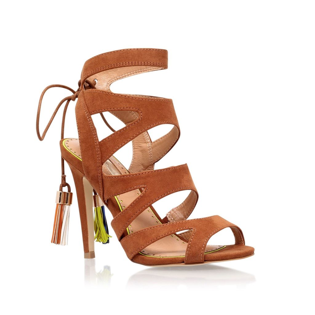 Frenchy2 High Heel Sandals, Tan - predominant colour: tan; occasions: evening, occasion; material: suede; heel height: high; ankle detail: ankle strap; heel: stiletto; toe: open toe/peeptoe; style: strappy; finish: plain; pattern: plain; season: s/s 2016; wardrobe: event