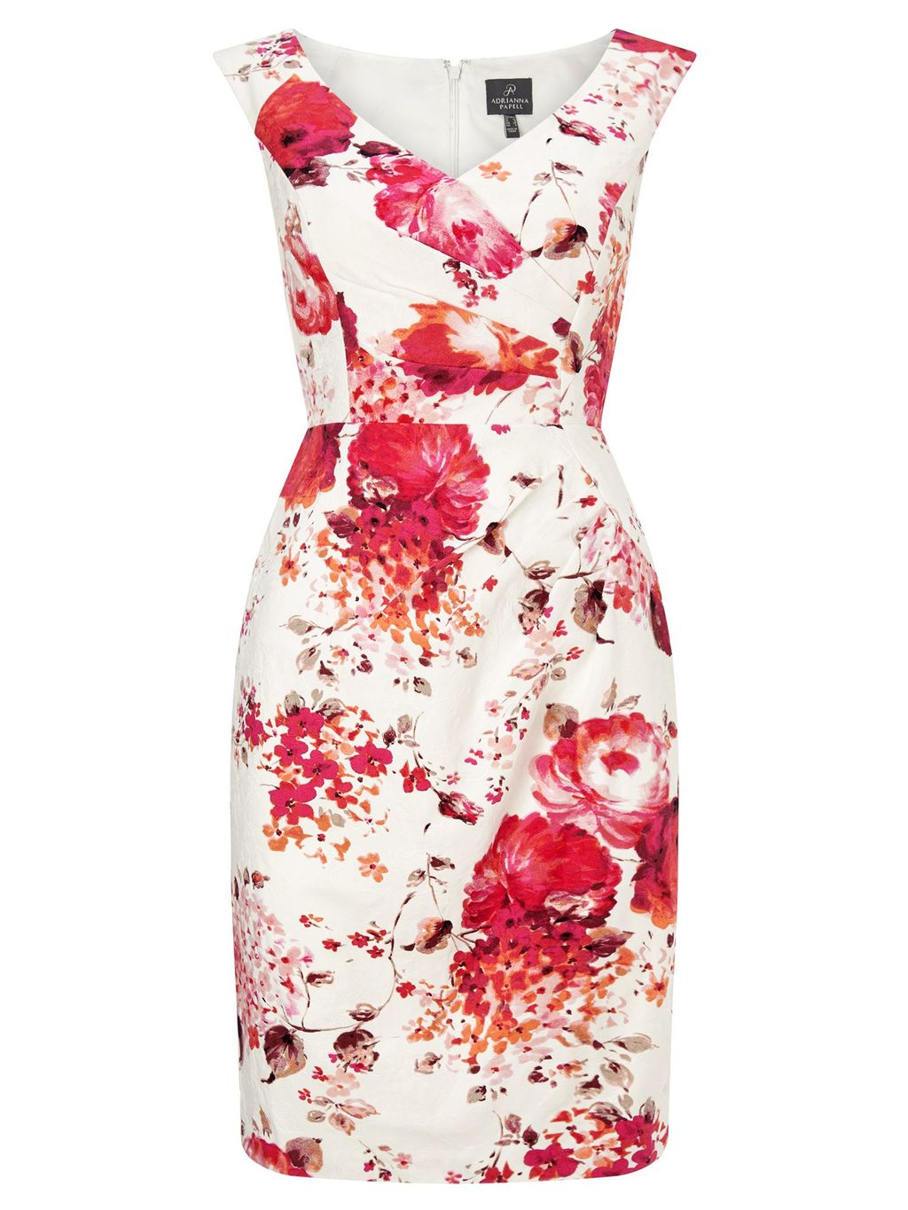 Floral Sheath Dress, Multi Coloured - style: shift; neckline: v-neck; sleeve style: capped; fit: tailored/fitted; predominant colour: ivory/cream; secondary colour: true red; length: just above the knee; fibres: polyester/polyamide - stretch; occasions: occasion; sleeve length: sleeveless; pattern type: fabric; pattern size: big & busy; pattern: florals; texture group: woven light midweight; multicoloured: multicoloured; season: s/s 2016; wardrobe: event