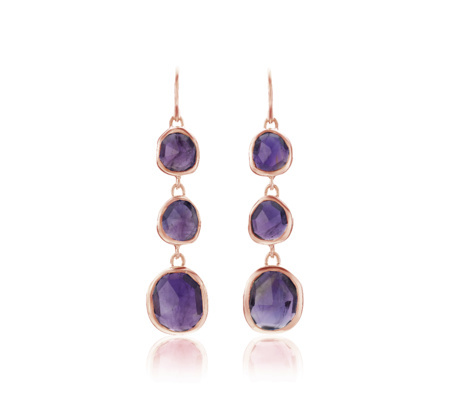 Rose Gold Siren Wire Cocktail Earrings Amethyst - predominant colour: purple; secondary colour: gold; occasions: evening, occasion; style: drop; length: short; size: large/oversized; material: chain/metal; fastening: pierced; finish: metallic; embellishment: jewels/stone; season: s/s 2016; wardrobe: event