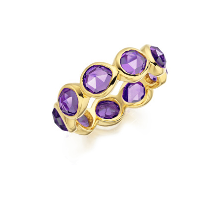 Gold Vermeil Siren Eternity Ring Large Amethyst - predominant colour: purple; secondary colour: gold; occasions: evening, occasion; style: band; size: large/oversized; material: chain/metal; finish: metallic; embellishment: jewels/stone; season: s/s 2016; wardrobe: event