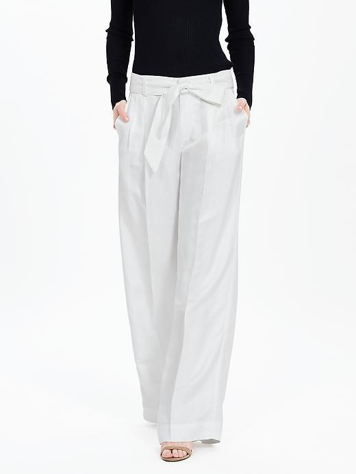 Linen Blend Belted Wide Leg Pant White - length: standard; pattern: plain; waist detail: belted waist/tie at waist/drawstring; waist: mid/regular rise; predominant colour: white; occasions: work, creative work; fibres: linen - mix; texture group: cotton feel fabrics; fit: wide leg; pattern type: fabric; style: standard; season: s/s 2016; wardrobe: basic
