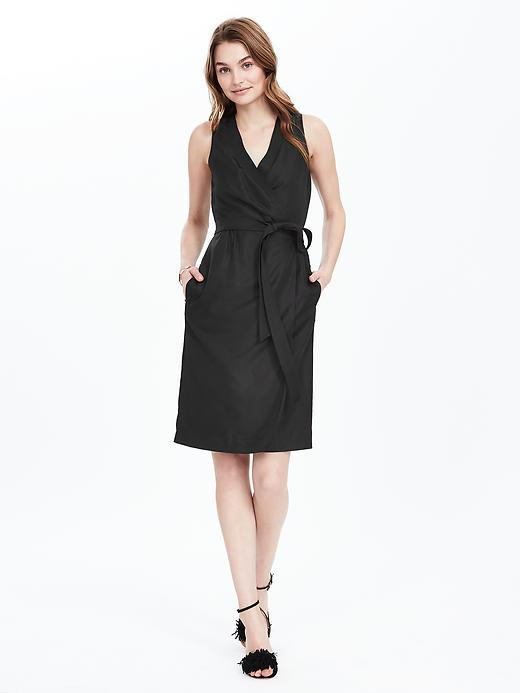 Black Sleeveless Wrap Dress Black - style: faux wrap/wrap; length: below the knee; neckline: low v-neck; pattern: plain; sleeve style: sleeveless; waist detail: belted waist/tie at waist/drawstring; predominant colour: black; fit: body skimming; fibres: polyester/polyamide - 100%; sleeve length: sleeveless; pattern type: fabric; texture group: woven light midweight; occasions: creative work; season: s/s 2016