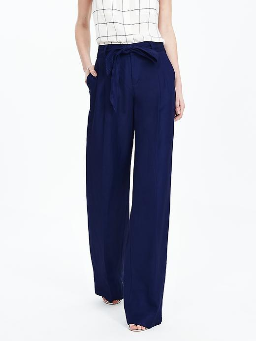 Linen Blend Belted Wide Leg Pant Bright Blue - length: standard; pattern: plain; waist detail: belted waist/tie at waist/drawstring; waist: mid/regular rise; predominant colour: navy; occasions: casual, creative work; fibres: linen - mix; texture group: linen; fit: wide leg; pattern type: fabric; style: standard; season: s/s 2016