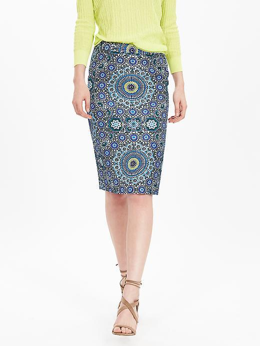Mosaic Pencil Skirt Lively Chartreuse - style: pencil; fit: tailored/fitted; waist: high rise; predominant colour: denim; length: on the knee; occasions: occasion, creative work; pattern type: fabric; pattern: patterned/print; texture group: other - light to midweight; fibres: viscose/rayon - mix; pattern size: big & busy (bottom); season: s/s 2016; wardrobe: highlight