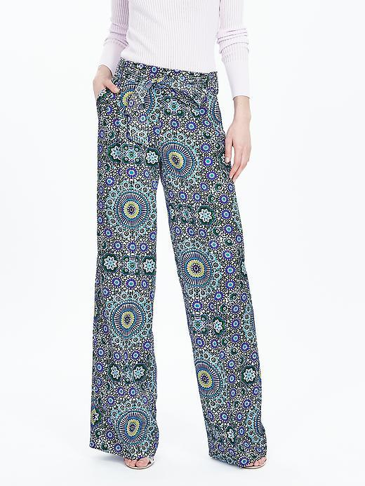 Print Belted Wide Leg Pant Blue Print - length: standard; waist: mid/regular rise; predominant colour: denim; secondary colour: black; occasions: casual, creative work; fibres: viscose/rayon - stretch; fit: wide leg; pattern type: fabric; pattern: patterned/print; texture group: other - light to midweight; style: standard; pattern size: big & busy (bottom); season: s/s 2016; wardrobe: highlight