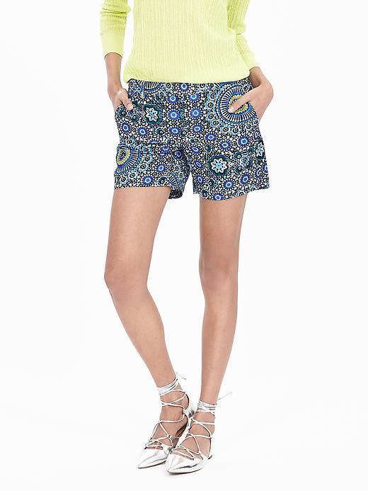 Mosaic Short Blue Print - hip detail: draws attention to hips; waist: mid/regular rise; secondary colour: diva blue; predominant colour: denim; occasions: casual; pattern type: fabric; pattern: patterned/print; texture group: other - light to midweight; fibres: viscose/rayon - mix; season: s/s 2016; style: shorts; length: short shorts; fit: baggy; wardrobe: highlight