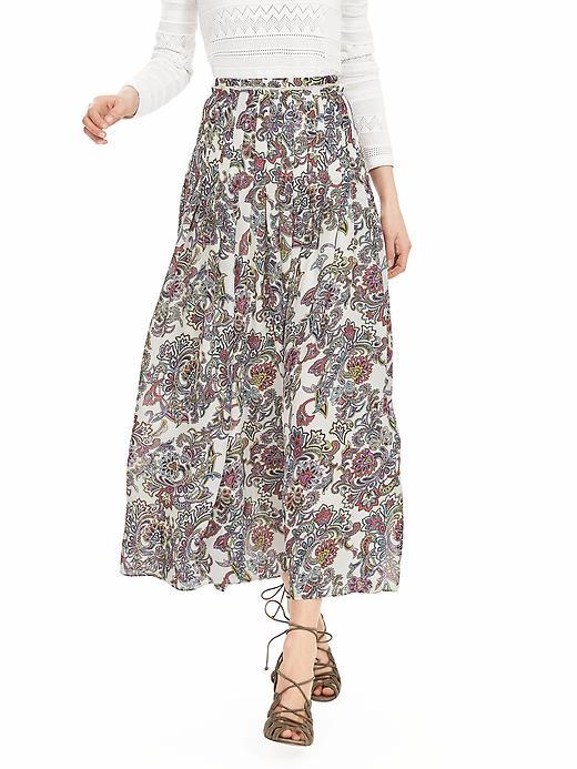Paisley Maxi Skirt White - style: full/prom skirt; length: ankle length; fit: loose/voluminous; pattern: paisley; waist: high rise; predominant colour: white; secondary colour: black; occasions: casual, creative work; fibres: polyester/polyamide - mix; hip detail: soft pleats at hip/draping at hip/flared at hip; pattern type: fabric; texture group: other - light to midweight; pattern size: big & busy (bottom); multicoloured: multicoloured; season: s/s 2016