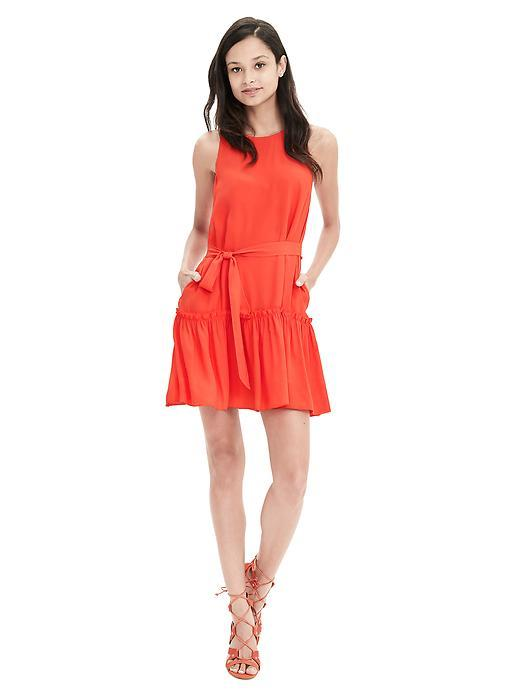 Coral Crepe Flounce Dress Orange Slice - style: shift; length: mid thigh; pattern: plain; sleeve style: sleeveless; waist detail: belted waist/tie at waist/drawstring; predominant colour: bright orange; occasions: evening; fit: body skimming; fibres: viscose/rayon - 100%; neckline: crew; sleeve length: sleeveless; texture group: crepes; pattern type: fabric; season: s/s 2016; wardrobe: event