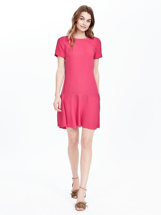 Flounce Dress Kismet Pink - style: shift; pattern: plain; waist detail: drop waist; predominant colour: magenta; occasions: evening; length: just above the knee; fit: body skimming; fibres: polyester/polyamide - 100%; neckline: crew; sleeve length: short sleeve; sleeve style: standard; texture group: crepes; pattern type: fabric; season: s/s 2016; wardrobe: event