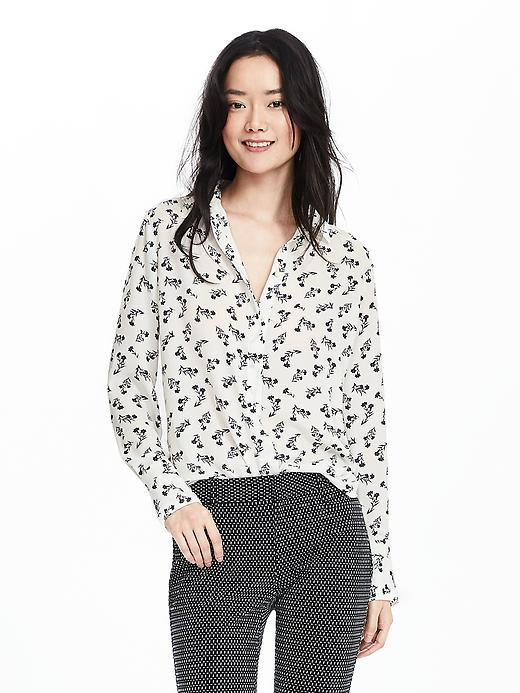 Floral Popover Blouse Cocoon - neckline: shirt collar/peter pan/zip with opening; style: shirt; predominant colour: white; secondary colour: charcoal; occasions: casual; length: standard; fibres: polyester/polyamide - 100%; fit: body skimming; sleeve length: long sleeve; sleeve style: standard; pattern type: fabric; pattern: florals; texture group: other - light to midweight; multicoloured: multicoloured; season: s/s 2016; wardrobe: highlight