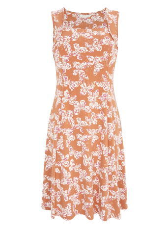 Womens Sleeveless Square Neck Butterfly Print Dress, Burnt Orange, Cream Multi - sleeve style: sleeveless; secondary colour: white; predominant colour: bright orange; occasions: casual, evening, creative work; length: on the knee; fit: fitted at waist & bust; style: fit & flare; fibres: cotton - stretch; sleeve length: sleeveless; neckline: medium square neck; pattern type: fabric; pattern: patterned/print; texture group: jersey - stretchy/drapey; multicoloured: multicoloured; season: s/s 2016