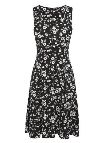 Womens Sleeveless Square Neck Floral Print Dress, Black, Black - secondary colour: white; predominant colour: black; occasions: evening; length: just above the knee; fit: fitted at waist & bust; style: fit & flare; fibres: polyester/polyamide - stretch; neckline: crew; sleeve length: sleeveless; sleeve style: standard; trends: monochrome; pattern type: fabric; pattern: patterned/print; texture group: jersey - stretchy/drapey; multicoloured: multicoloured; season: s/s 2016; wardrobe: event