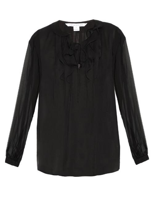 Kolby Blouse - neckline: round neck; pattern: plain; style: blouse; predominant colour: black; occasions: casual; length: standard; fibres: silk - 100%; fit: body skimming; sleeve length: long sleeve; sleeve style: standard; texture group: sheer fabrics/chiffon/organza etc.; pattern type: fabric; season: s/s 2016; wardrobe: basic