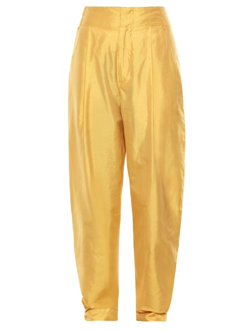 Kyler High Rise Satin Trousers - length: standard; pattern: plain; style: harem/slouch; waist: high rise; predominant colour: yellow; occasions: evening; fibres: polyester/polyamide - mix; texture group: structured shiny - satin/tafetta/silk etc.; fit: baggy; pattern type: fabric; season: s/s 2016; wardrobe: event
