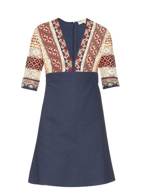 Ely V Neck Embroidered Dress - style: shift; length: mid thigh; neckline: v-neck; fit: tailored/fitted; predominant colour: navy; secondary colour: nude; occasions: casual; fibres: cotton - 100%; sleeve length: half sleeve; sleeve style: standard; pattern type: fabric; pattern: patterned/print; texture group: other - light to midweight; multicoloured: multicoloured; season: s/s 2016; wardrobe: highlight