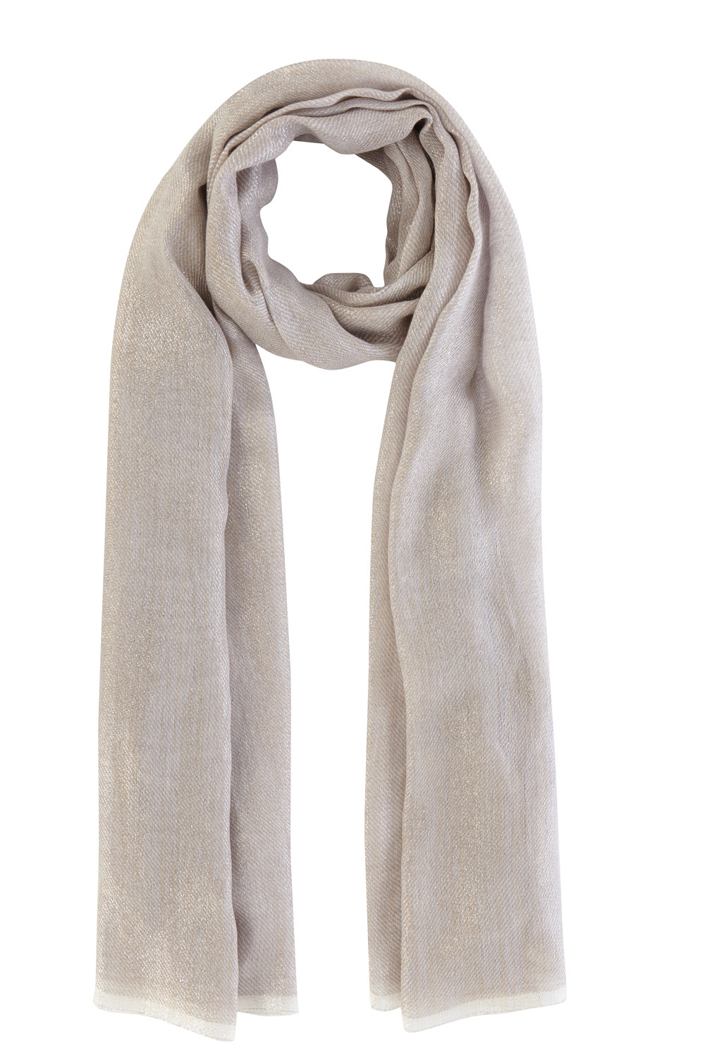 Metallic Scarf - predominant colour: light grey; occasions: casual, creative work; type of pattern: standard; style: regular; size: standard; material: fabric; pattern: plain; season: s/s 2016; wardrobe: basic